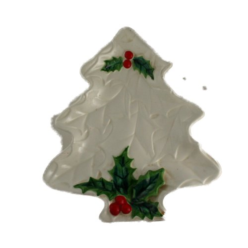 Lefton 1970/71 White Holly Plate VINTAGE CHRISTMAS Ceramic Japan 8-1/4 Inches
