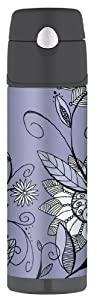 Thermos Raya 18-Ounce Hydration Bottle, Purple Flower by Thermos