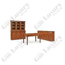 Set soggiorno composto da cristalliera tavolo e credenza, stile classico, in legno massello e mdf con rifinitura in noce lucido