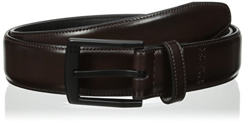 Kenneth Cole REACTION Men's Belt with Feather Edge Stitch and Matte Black Buckle, Brown, 40