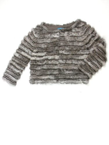 Alice + Olivia womens honor grey rabbit fur stripes jacket S