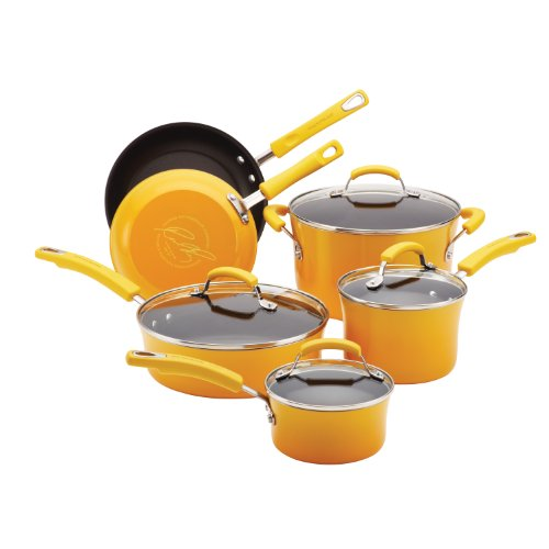 Rachael Ray Porcelain Enamel II Nonstick 10-Piece Cookware Set, Yellow Gradient (Cookware Set Green Gradient compare prices)