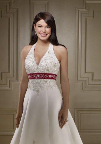 Solid or Two Tone Duchess Satin Wedding Gown - White with Claret