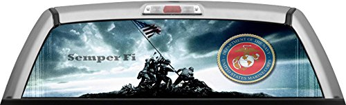 USMC - IWO JIMA GLASSVIEW - by ITIGD : Truck Rear Window Decal Wrap (Rear Window Graphics Usmc compare prices)