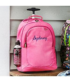 Personalized Solid Embroidered Rolling Backpack - Girl - Back To School Gift