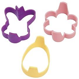 WILTON Silicone Pancake Ring Mold 3-Piece Set - Bunny ~ Egg ~ Flower