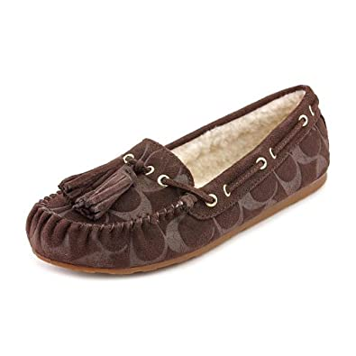 COACH ANITA CHESTNUT/NATURAL EMBOSSED SUEDE MOCCASINS WOMEN SIZE 6.5 M