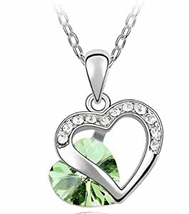 Lovers2009 Girls Popular Pendant Refinement Diamond Jewelry Heart Shape Crystal Necklace -Soulmate (Olive Green)