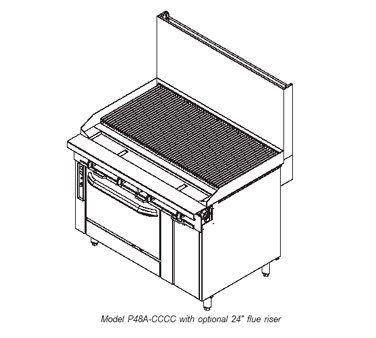 Southbend-P48A-CCCC-NG-48-in-Range-w-Stainless-Radiant-Charbroiler-Manual-Convection-Oven-NG