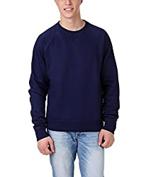 Aventura Outfitters Round-Neck Full Sleeve Solids Navy Blue Fleece Sweatshirt- L (AOSW04-L)