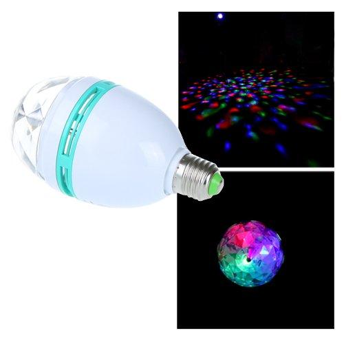 Kingzer Rgb 3W E27 Crystal Auto Rotating Led Bulb Full Color Mini Stage Dj Lamp Light