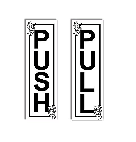 1x Push - 1x Pull - Door Sticker Sign With Angels - Self Adhesive (Metal Pull & Push Door Signs compare prices)