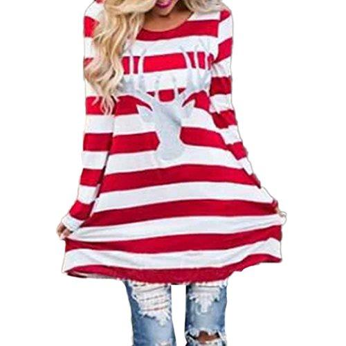Elevin(TM)Women Children Fashion Christmas Deer Pattern Long Sleeve Stripe Blouse Dress