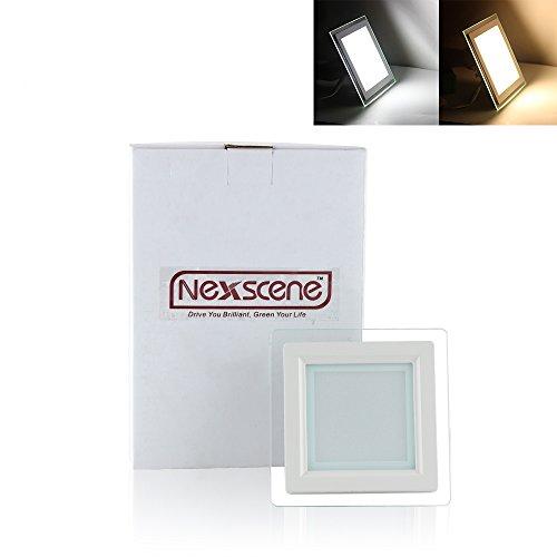 Nexscene 6W 4 Inch 5730 Smd Energy Saving 3000K-3500K Glass Square Ceiling Panel Led Recessed Lighting Downlight Lamp (Warm White)