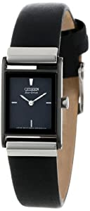 "Citizen Women's EW9215-01E ""Eco-Drive"" Stainless Steel and Black Leather Watch"