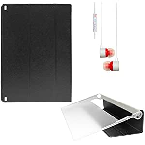 DMG Premium Fiber Pattern Slim Fit Smart Cover Case for Lenovo Yoga Tablet 2 1050F (Black) + White Stereo Earphone with Mic and Volume Control
