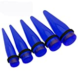 Fashion Ear Plugs - Cobalt Blue Taper Ear Plugs (5/8 Gauge) - Body Jewelry (2 pc)