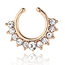 buy Punk Womens Silver Plated Crystal Statement Nose Piercing Ring Rose Golden 1048K-13-N