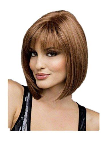 Meylee Parrucche Moda 30cm dritto corto parrucca capelli per le donne 3 gradienti colore , dark brown jf2031