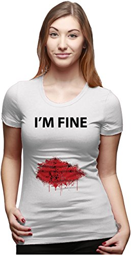Women's I'm Fine Bloody Wound T Shirt Funny Injury Tee M