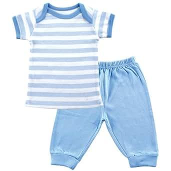 Luvable Friends Tee Top & Pants, Blue, 0-3 Months