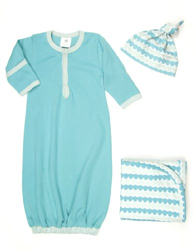 Kate Quinn Organic Snuggle Set (Sacque, Hat, Blanket), 3-6M (Turquoise) front-791988