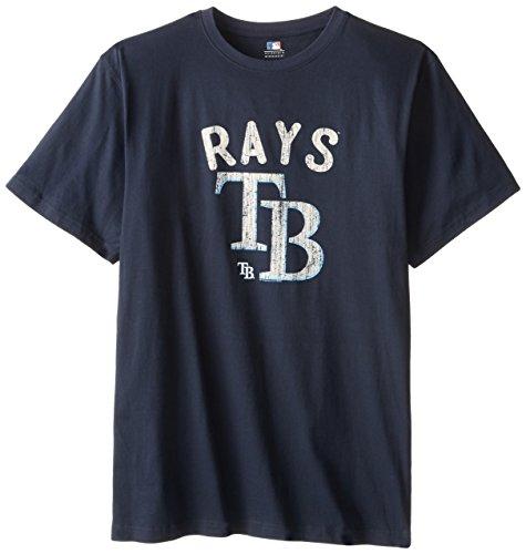 MLB Tampa Bay Rays Screen Print Short Sleeve T-Shirt, Navy, 4X-Large Tall