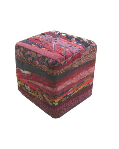 Home Collection 17.7-Inch Handmade Tie Square Ottoman, Red