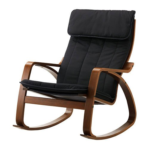 Ikea poang rocking chair medium brown with cushion for Chaise rocking chair ikea