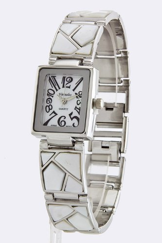 Karmas Canvas Marble Pieced Braclet Watch (White)