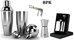 hpk cocktail shaker , peg measure double sided glass, 2in1 opener,hip flask with funnel