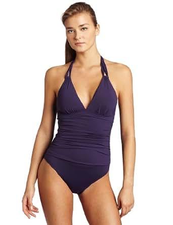Calvin Klein Women's Shirred Halter One Piece Swimsuit