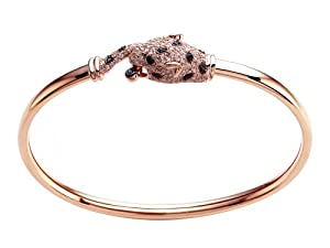 Effy Collection Panther 14k Pink Gold Black Diamond and Diamond Emerald Bangle
