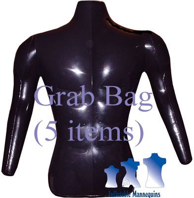 Grab Bag of 5 Inflatable Mannequins, Male Torso with Arms, Shiny Black