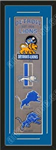 Heritage Banner Of Detroit Lions With Team Color Double Matting-Framed Awesome &... by Art and More, Davenport, IA