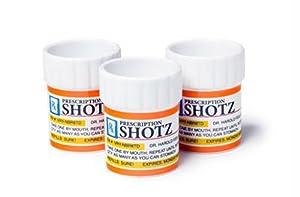 Big Mouth Toys Prescription Pill Bottle Shaped Shot Glass Set, 3-Pack