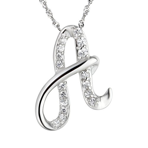 Paialco Jewelry Diamante Initial Pendant Letter Long Chain 20″ Necklace Silver Color