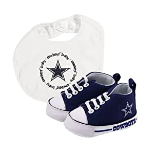 Brand New Dallas Cowboys NFL Infant Bib and Shoe Gift Set by Things for You