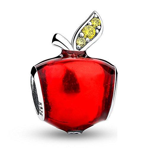Fascini di Apple misura i braccialetti Pandora Perline rosse dello smalto per i regali di Natale Ragazze mela verde di cristallo di Biancaneve 925 sterline d'argento pendenti openwork