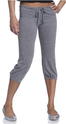 MoonTree Women's Black Heart Eco-Heather Cropped Activewear Lounge Pant 1985