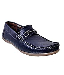 Duppy Boys Blue Synthetic Leather Loafers 04 UK