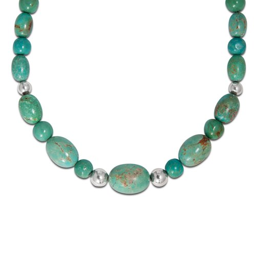 Sterling Silver Green Turquoise Beaded Necklace - Adjustable 17