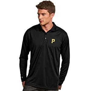 Pittsburgh Pirates Long Sleeve Polo Shirt (Team Color) by Antigua
