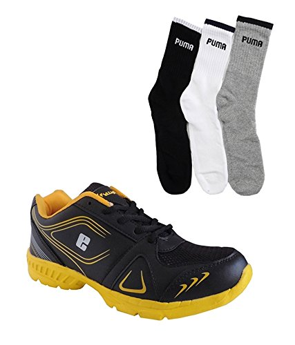 Elligator Black & Yellow Stylish Sport Shoes With Puma Socks For Men's