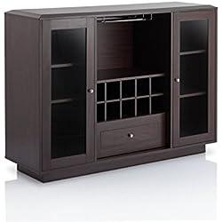 Furniture of America Bormie Modern Wine Rack Buffet in Espresso
