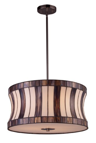 Landmark 72043-3 Delgado 3-Light Pendant, 10-Inch, Black Chrome