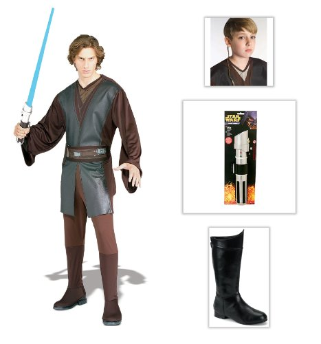 Star Wars Anakin Skywalker Adult Costume One Size, Lightsaber, Boots, Jedi Braid