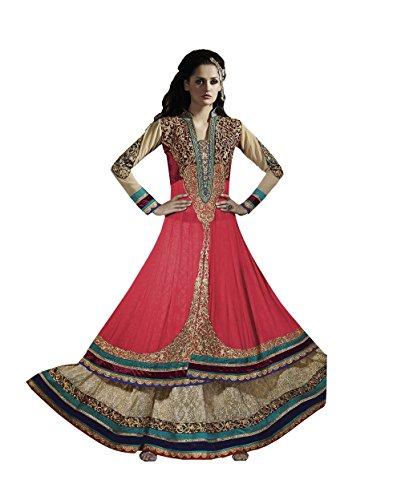 Rajnandini Georgette embroidery Semi stitched Anarkali suit (Multi colour_Free Size)