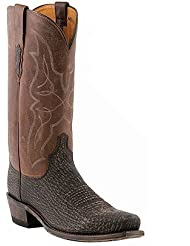 Lucchese 1883 Western Exotic Sanded Shark M3105 Chocolate