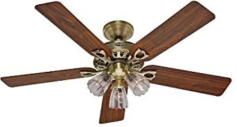 Hunter 22435 Sontera Three-Light 52-Inch Five-Blade Ceiling Fan, Antique Brass with Clear Globes